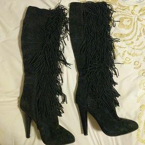 Steve madden knee-high black suede fringe boots